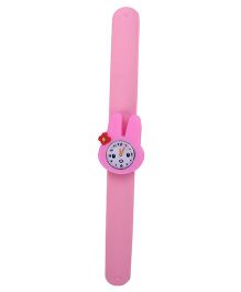Slap Style Analog Watch Rabbit Design Dial - Light Pink