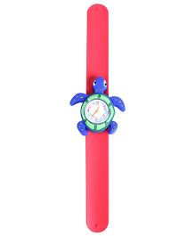 Slap Style Analog Watch Tortoise Shape Dial - Blue and Red