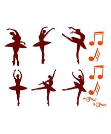 Chipakk Ballerina And Musical Notes HD Wall Decal - Brown
