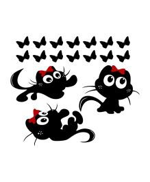 Chipakk Kittens And Butterflies HD Wall Decal - Black And Red