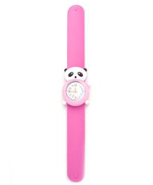 Slap Style Analog Watch Panda Shape Dial - Pink