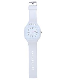 Analogue Wrist Watch Square Shape Dial - White