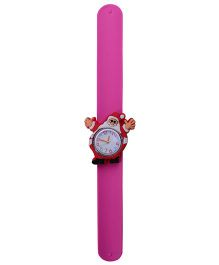 Slap Style Analog Watch Santa Claus Design Dial - Pink & Red