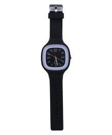 Analog Wrist Watch Square Shape Dial - Black