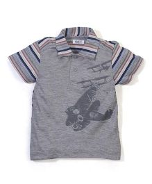 Enfant Airplane Print T-Shirt - Grey