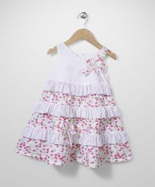 Enfant Dot Print Layers Dress - Pink & White
