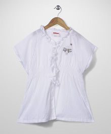 Elle Fashion Butterfly Print Tunic - White