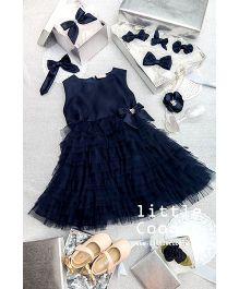 Little Coogie Bow Dress - Navy Blue