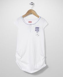 Elle Front Button Top - White