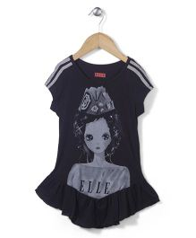 Elle Fashion Princess Print Dress - Black