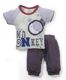 Babyhug Half Sleeves T-Shirt And Leggings Monkey Print - Grey