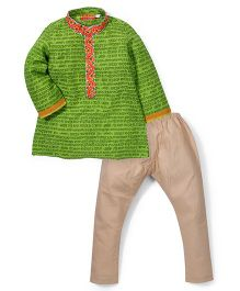 Exclusive From Jaipur Short Kurta And Pajama Set - Green And Beige