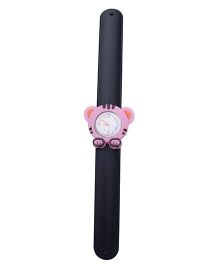 Slap Style Analog Watch Tiger Design Dial - Black and Pink