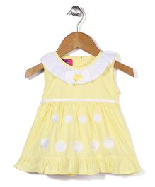 Mini Cupcake Sleeveless Frock Polka Dots Patch - Yellow