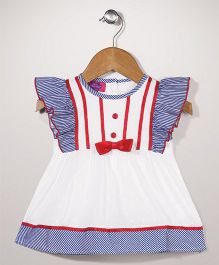 Mini Cupcake Flutter Sleeves Frock - White and Blue
