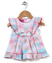 Mini Cupcake Flutter Sleeves Frock Floral Print - Blue and Pink