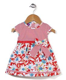 Mini Cupcake Sleeveless Frock Floral Print - Red