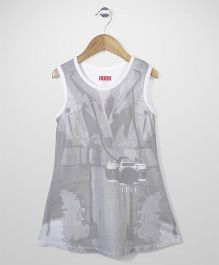 Elle Fashion Camera Print Dress - White & Grey