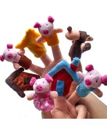 Kuhu Creations Finger Puppets Three Little Pig Story - Set of 8