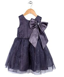 Little Coogie Bow With Star Design Dress - Dimgray