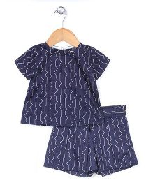 Kiddy Mall Zigzag Print Shorts & Top Set - Blue