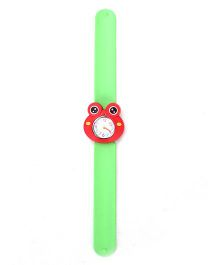 Slap Style Analog Watch Frog Design Dial - Green and Red