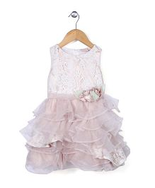 Little Coogie Floral Embroidery Party Dress - White & Pink