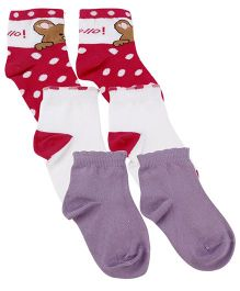 Mustang Ankle Length Socks Pack Of 3 - White Pink Purple