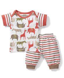 Babyhug Half Sleeves Night Suit Set Animals Print - White and Orange