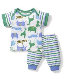Babyhug Half Sleeves Night Suit Set Animals Print - White and Green