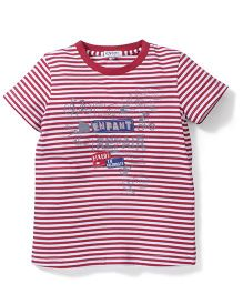 Enfant Stripe Print T-Shirt - Red