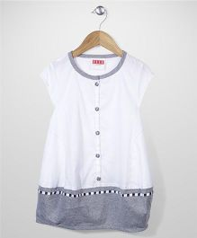 Elle Fashion Front Button Dress- White & Grey