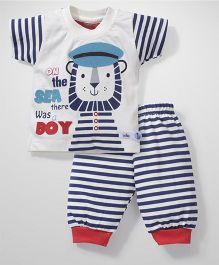 Babyhug Half Sleeves T-Shirt And Leggings Sea Patch - White Navy