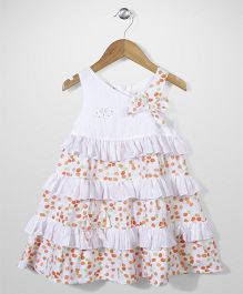 Enfant Balloon Print Dress - White & Orange