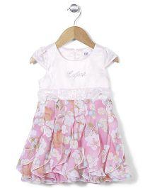 Enfant Flower Print Frock - Pink