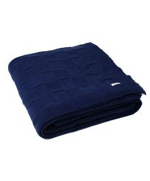 Pluchi Knit Bed Throw Queen Blanket - Navy Blue