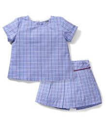 Kiddy Mall Checks Print Top & Skirt - Blue