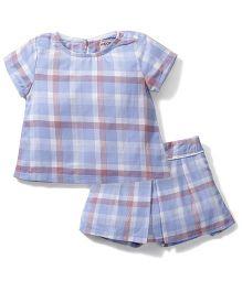 Kiddy Mall Stripe Print Shorts & Top Set - Blue