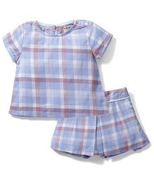 Kiddy Mall Stripe Print Shorts & Top Set - Blue