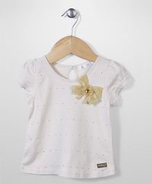 AZ Baby Stone Studded Top - White