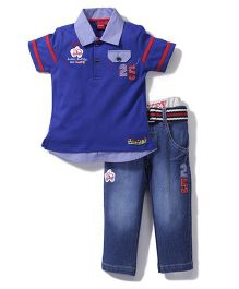 Mickey Half Sleeves T-Shirt and Pants Set 25 Patch - Blue