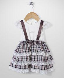 AZ Baby Ruffle Checkered Dress - White