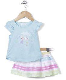 Kiddy Mall Rabbit Print Top & Skirt Set - Blue & Pink