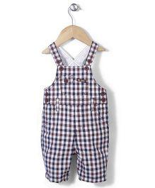 AZ Baby Checkered Print Dungaree - Blue & Brown