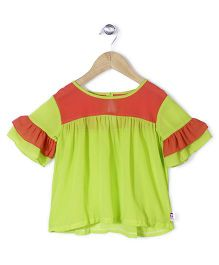 Chic Girls Dual-Tone Top - Red & Green