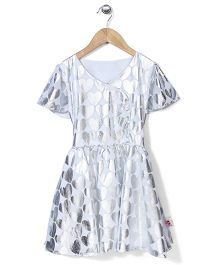 Chic Girls Heart Print Party Dress - White & Silver