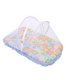 Mee Mee Mattress Set With Mosquito Net Multi Print - Blue
