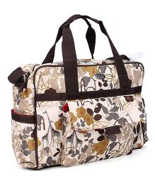 Mee Mee Mother Bag Flowers and Animals Print - Cream and Black