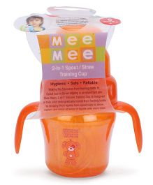Mee Mee 2 in 1 Spout Straw Training Cup Orange - 150 ml (Prints May Vary)