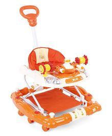 Mee Mee Musical Baby Walker Cum Rocker With Push Handle - Orange